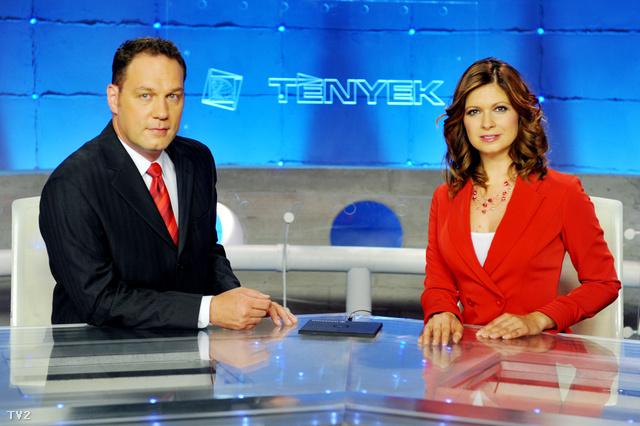 A TV2, Tények Este két műsorvezetője, Pachmann Péter ésAndor Éva