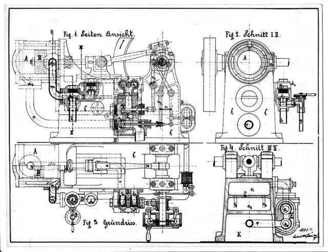 Csonka tervezte gáz- és petróleumüzemű motor rajza 1883-ból