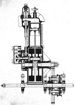 Az 1900-as triciklimotor metszetrajza és a motor átalakítása a Bosch nagyfeszültségű gyújtóberendezéshez