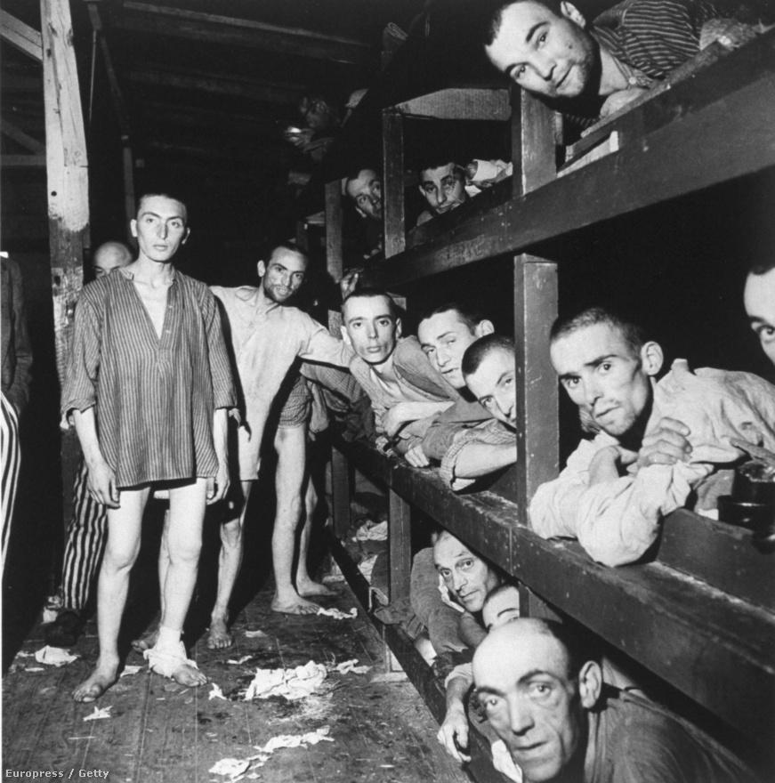 """Bourke-White volt a haláltáborok első fotósa, korábban még senki sem tudósított az ott folyó borzalmakról. """"A fotózás megkönnyebbülést jelentett, mert egy fajta védőburkot vont körém és a látottak  közé."""" A képen a buchenwaldi tábor foglyai láthatóak a felszabadításkor, Kertész Imre így írt erről a Sorstalanságban: """"Én is roppant örvendtem, igen természetesen, annak, hogy szabadok vagyunk, de hát nem tehettem róla, ha másfelől viszont arra kényszerültem gondolni: tegnap ilyesmi még nem fordulhatott volna például elő. Már sötét volt odakint az áprilisi este, Pjetyka is visszaérkezett már, kipirulva, fölhevülten, ezer érthetetlen szóval tele, amikor a hangszórón át végre ismét a Lagerältester jelentkezett. Ezúttal a volt Kartoffelschälerkommando tagjaihoz fordult, kérve őket, szíveskednének elfoglalni régi helyüket a konyhán, a tábor valamennyi többi lakóját meg arra kérte föl, hogy maradjanak, akár az éj közepéig is ébren, mivel erős gulyásleves főzéséhez látnak számukra máris hozzá: akkor dőltem csak megkönny"""