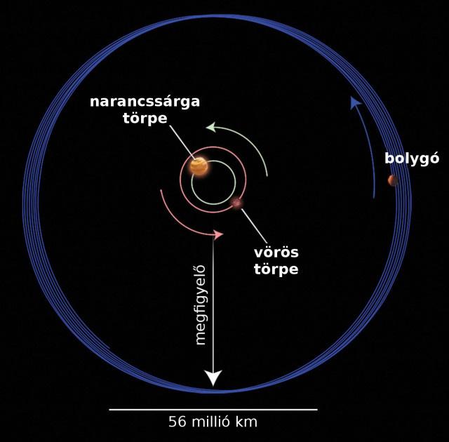 Az illusztráció a Kepler-413 rendszert mutatja felülnézetből. A Kepler-413b jelű bolygó egy törpecsillagokból álló pár körül kering 66 napos periódussal egy olyan pályán, amelynek síkja 2,5 fokos szöget zár be a kettősével és 11 éves periódussal precesszál. (NASA/ESA/STScI)