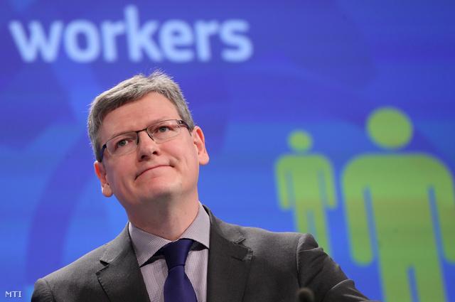 Andor László az Európai Bizottság foglalkoztatási szociális és társadalmi összetartozási ügyekben illetékes magyar tagja sajtótájékoztatót tart Brüsszelben 2014. január 13-án.