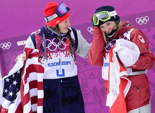 Az ezüstérmes Devin Logan és az aranyérmes kanadai, Dara Howell
