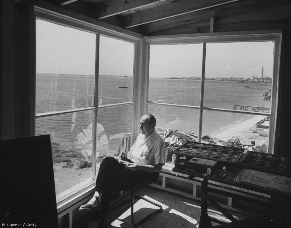 Nem a portré volt Feininger kedvenc műfaja, és ha jól megnézzük ezt a képet, akkor ki is derül, hogy egyáltalán nem a Cape Codon elmélkedő művész a főszereplője (mint a képaláírása szerint), hanem az a nyolcosztatú ablak, ami a tengerpartra nyílik.