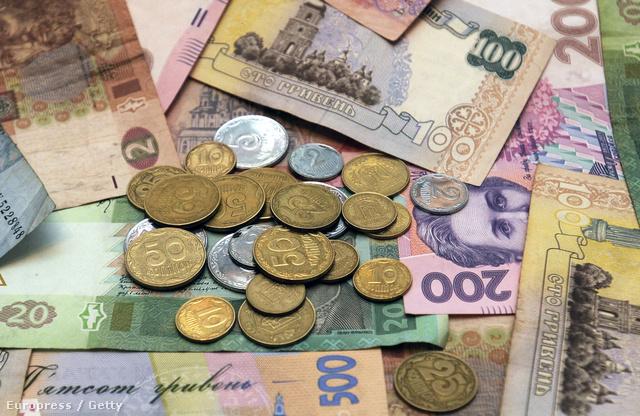Ukrán hrivnya bankók és érmék