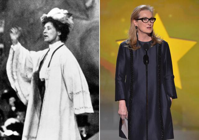 Emmeline Pankhurst és az őt alakító Meryl Streep