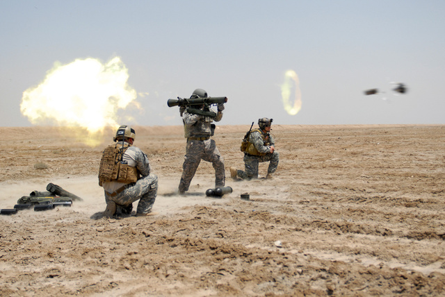 US Special Forces soldier fires a Carl Gustav rocket during a tr