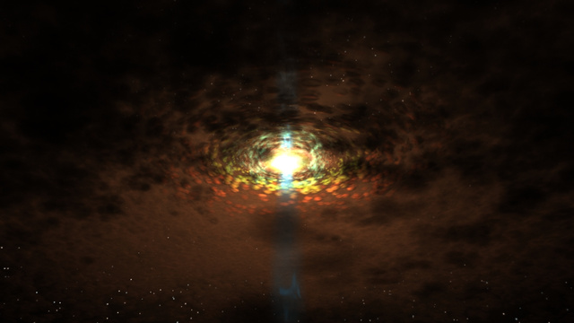 Közelkép egy aktív galaxismag centrumáról és körülötte mozgó, egyedi gázfelhőkről a friss eredmények alapján készült számítógépes szimulációból.