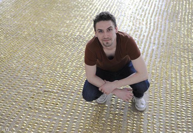 Kiss Miklós képzőművész-designer Goldenroach Unlimited című installációjával Budapesten a Műcsarnok M0-ban 2014. március 6-án.