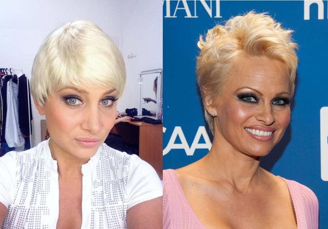 Bal oldalon Horváth Éva, jobb oldalon Pamela Anderson látható