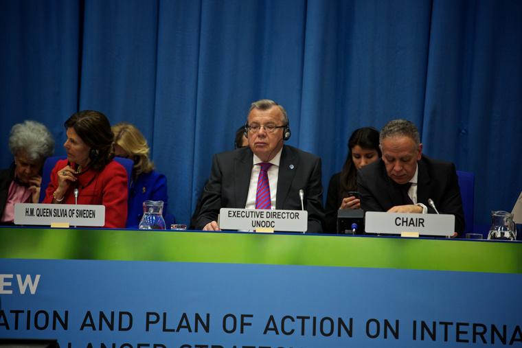 Jurij Fedotov, UNODC igazgató az ENSZ drogügyi közgyűlésén