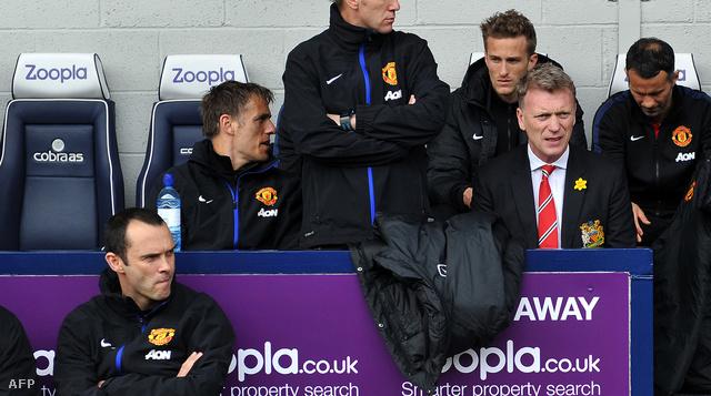 David Moyes a West Bromwich Albion elleni Manchester United mérkőzés előtt, 2014. március 8-án.