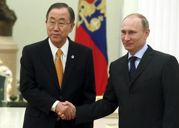 Vlagyimir Putyin és Ban Kimun a Kremlben