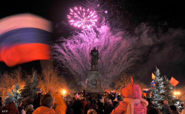 Tűzijáték Szevasztoplban, március 21-én