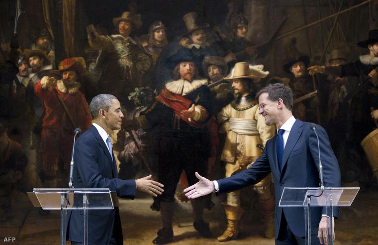 Mark Rutte holland miniszterelnök és Barack Obama Amszterdamban, a Rijksmuseumban tartott sajtótájékoztatón, 2014. március 24-én.
