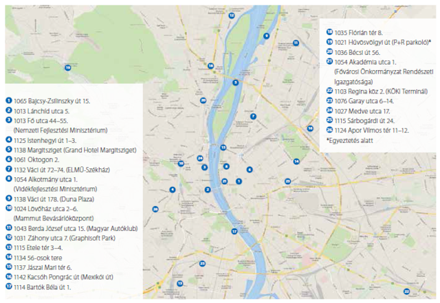 Az Elmű töltőoszlop-térképe
