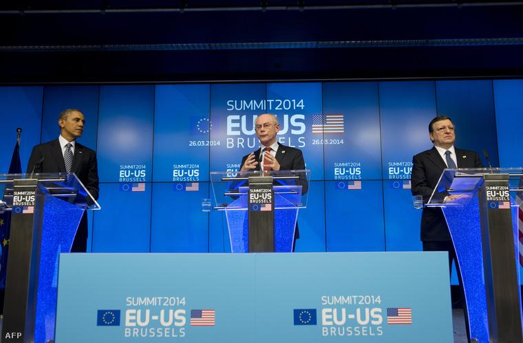 Barack Obama, Herman Van Rompuy és José Manuel Barroso Brüsszelben