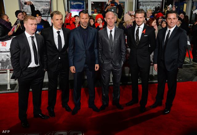 Scholes, Phil Neville, Giggs, Butt, David Beckham és Gary Neville