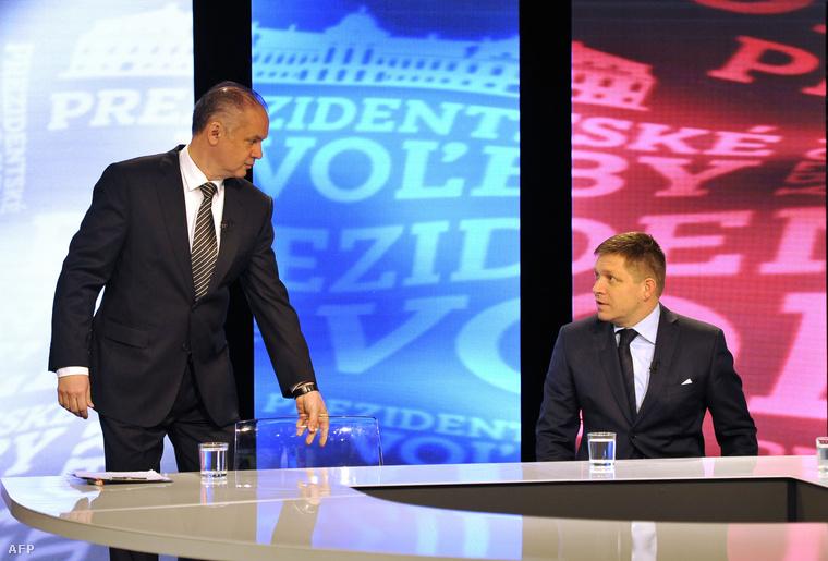 Kiska és Fico a választás első fordulóját közvetítő műsorban