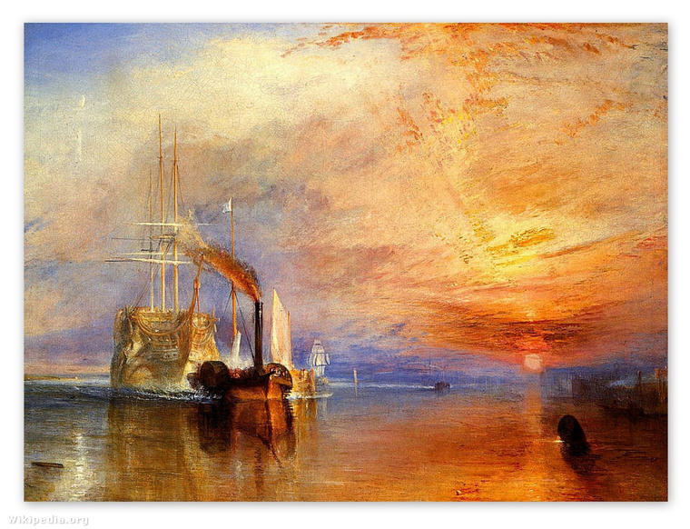 William Turner: A Téméraire hadihajó utolsó útja a Temzén napnyugtakor (1838)