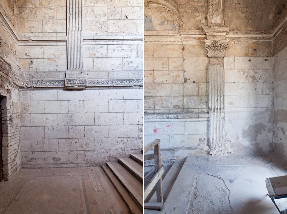 A bazársor fülkéi közt bújik meg a díszes Erzsébet-lépcső, melyet a hagyomány szerint kifejezetten azért építettek, hogy ha Erzsébet királynő Bécsből Budára hajózik, erre sétálhasson fel a Várba. Ahol lehetett rekonstruálták az egykori terrazzo burkolatot, ahol nem maradtak fenn sem minták, sem tervek, ott más Ybl-épületek analógiáját használták a restaurálás során.