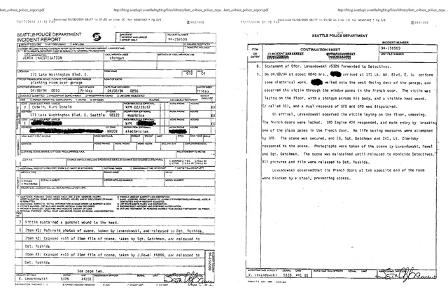 A rendőrségi helyszíni jelentés Kurt Cobain öngyilkosságáról