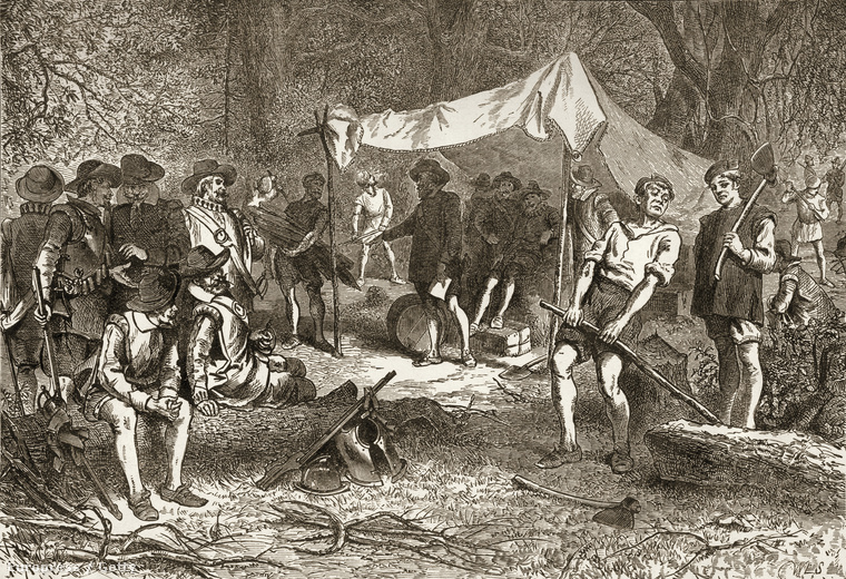 Illusztráció az első telepesek táboráról.