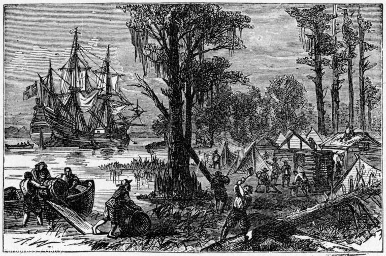 Érkezés Jamestownba - illusztráció a Harpers Enciklopédiából, 1905.