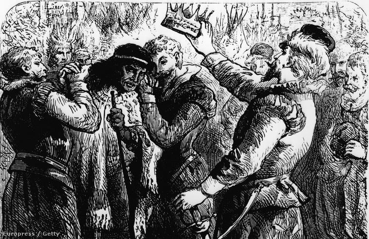 Korabeli illusztráció Powhatan főnök koronázási ceremóniájáról