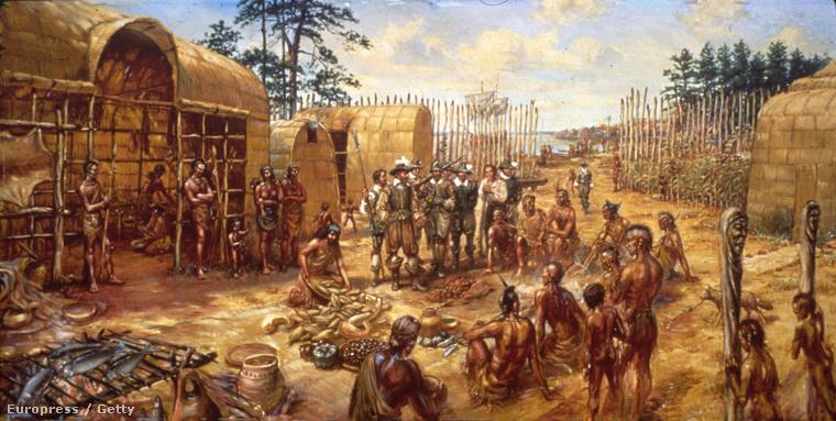 Telepesek és indiákon Jamestonban, korabeli illusztráció