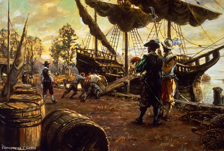 Korabeli illusztráción munkások pakolnak meg egy hajót dohánnyal teli hordókkal