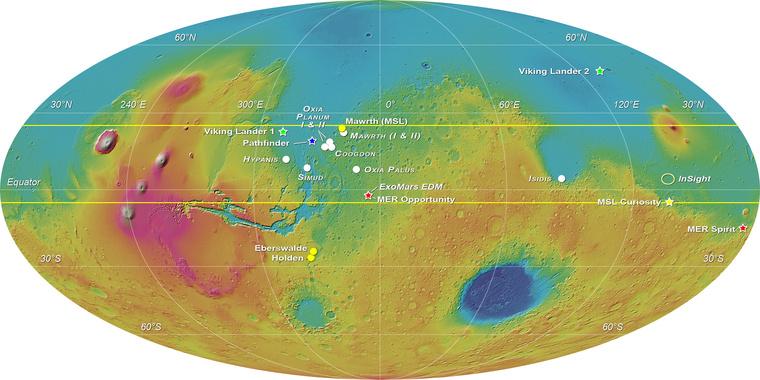 ExoMars 2018 Mars landing sites elevation