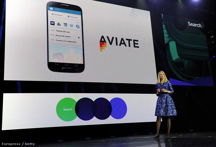 Marissa Meyer, a Yahoo vezérigazgatója a januári CES expón Las Vegasban