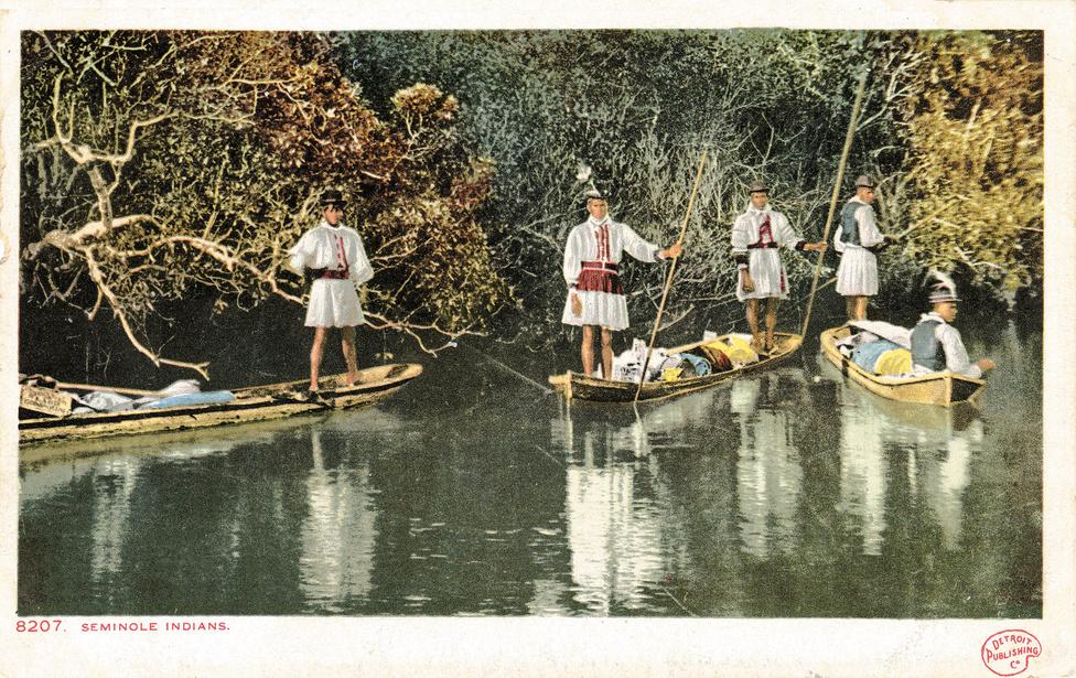 Szeminol-indián család a Miami-folyón, Floridában