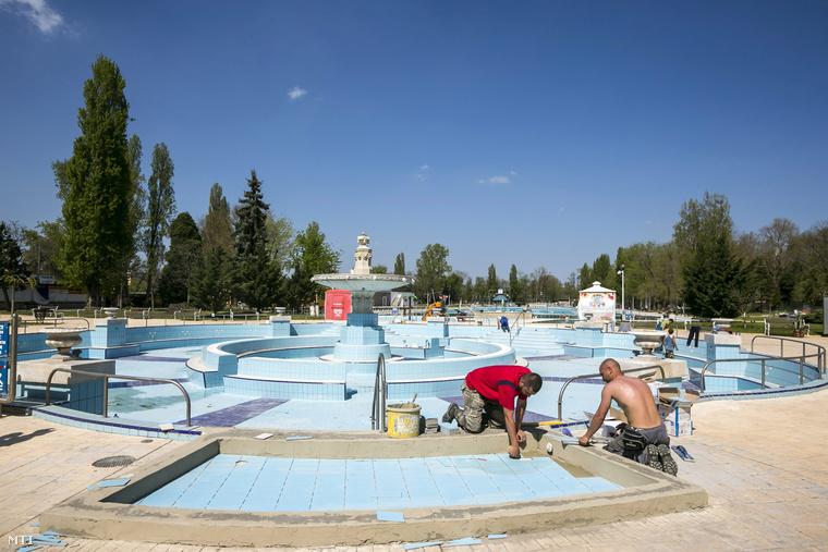 Munkások dolgoznak a Palatinus egyik medencéjénél (2013.)