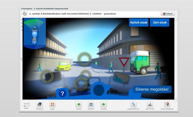 Ez az interaktív animáció a holttér fogalmával ismerteti meg a tanulót. Választhatunk nyitott és zárt bukósisak közül