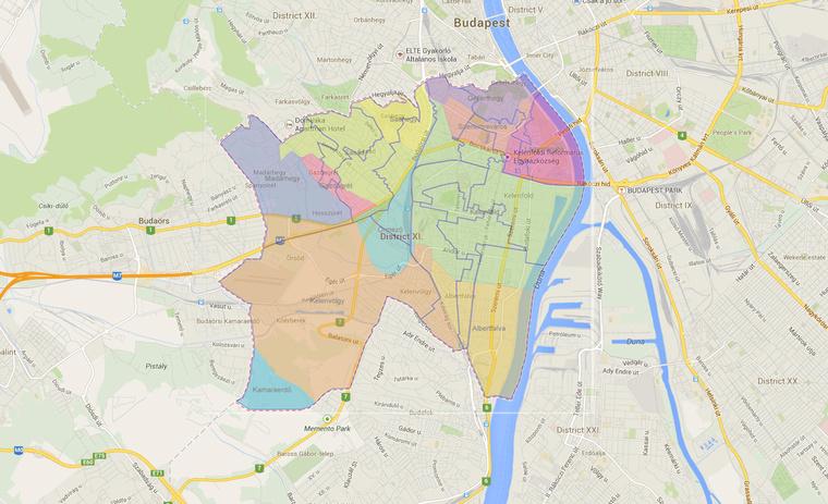 budapest xi kerület térkép Index   Belföld   Furcsa amőbák lettek az újbudai körzetekből