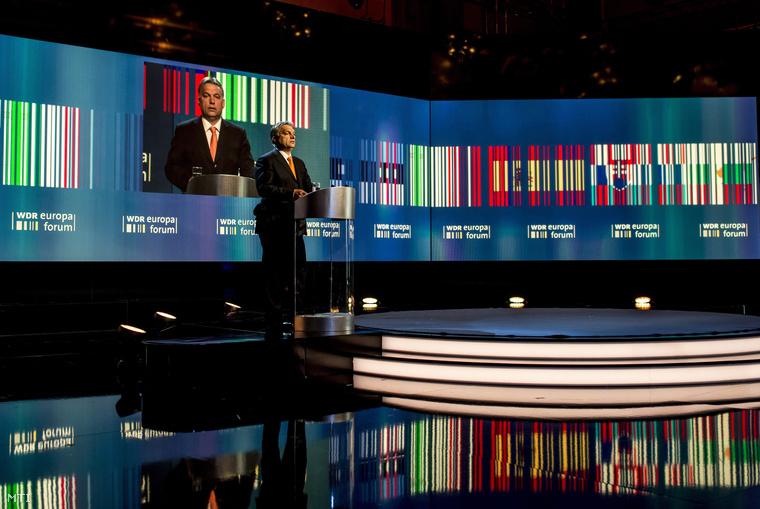 Orbán Viktor a WDR német regionális közszolgálati műsorszóró társaság Europa Forum elnevezésű konferenciáján.