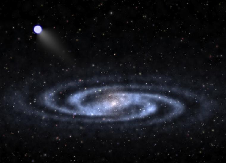 Fantáziarajz egy hipersebességű csillagról, amint az egy Tejútrendszerünkhöz hasonló spirális galaxisból tart kifele a galaxis látható részét övező, sötét anyagból álló rejtélyes halóba. A University of Utah kutatója, Zheng Zheng és amerikai, illetve kínai munkatársai a hozzánk legközelebbi hipersebességű csillagot azonosították.