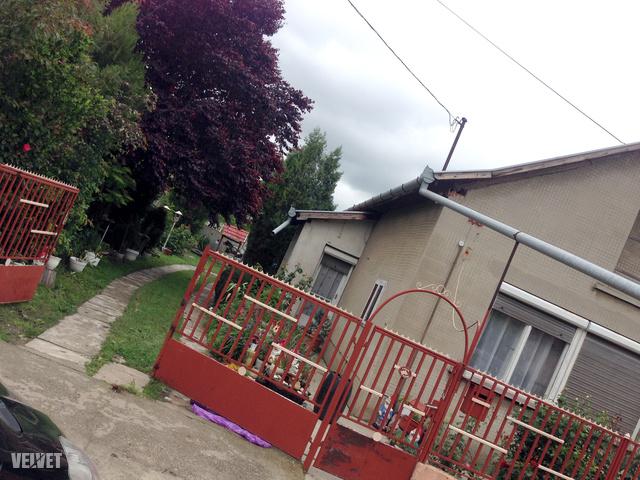 A tett helyszíne. A ház kapujában a terhes nő barátja kapott lövést.