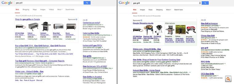 A bal oldalon a Google Shopping jelenleg, a jobb oldalon a Google javaslata szerinti változtatással. Nagyításért kattintson!