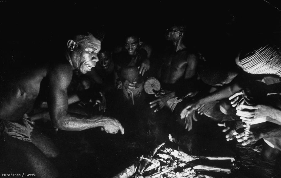 Egy őslakos törzs tagjai készülődnek az esti vadász-ritáléhoz. A gorillavadászat nehéz és veszélyes munka volt - bár a gorillák soha nem támadtak a vadászokra provokáció nélkül.