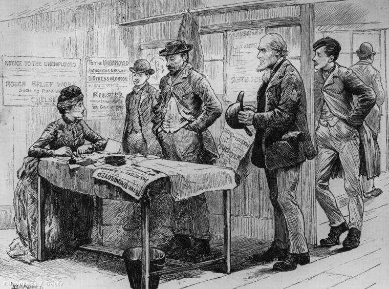 Munkanélküliek regisztrációs irodája Londonban, 1887.