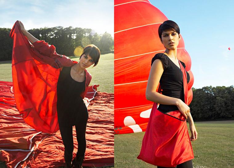 A Worn Again ejtőernyőből készült esőkabátja és táskája