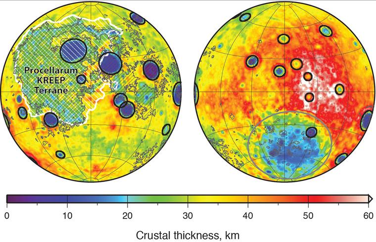 A holdkéreg vastagsága a két féltekén, a GRAIL űrszondák mérései alapján. A túlsó oldal (jobbra), a nagy becsapódás létrehozta Déli Pólus-Aitken-medencét leszámítva, jóval vastagabb. A legvékonyabb a Viharok Óceánján (balra), itt egy sor, mélyebbről származó kémiai elem is gyakoribb (KREEP: kálium, ritkaföldfémek és foszfor).