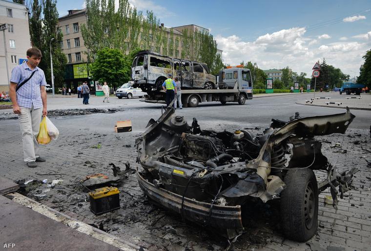 A Donyeckben felrobbantott minibusz