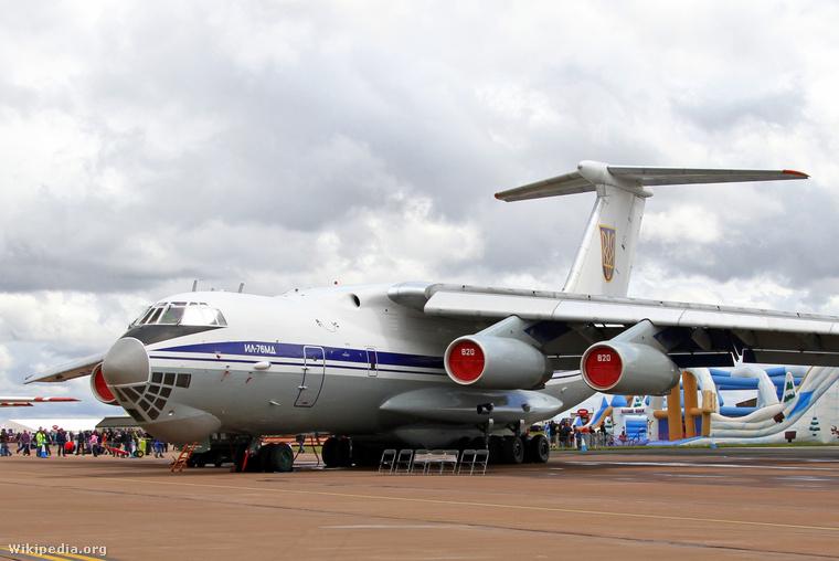 Az Ukrán Légierő egyik IL-76 típusú katonai szállító repülőgépe.