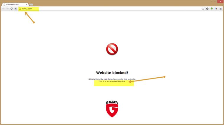 A Gdata vírusirtója adathalászat miatt blokkolja az oldalt