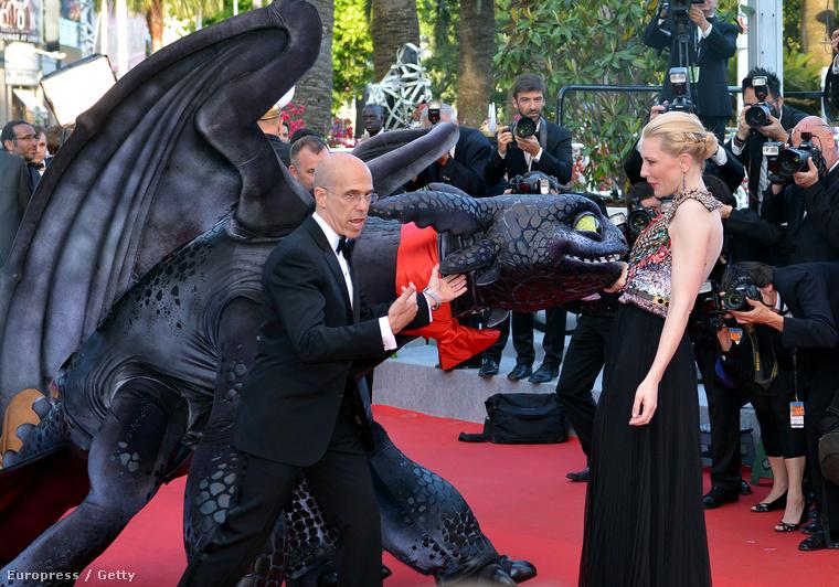 Jeffrey Katzenberg és Cate Blanchett az Így neveld a sárkányodat 2 cannes-i premierjén