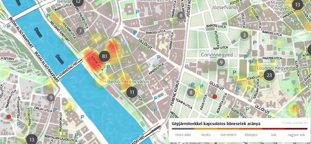 A budapesti Fővám tér az ország talán legveszélyesebb helye, az autófeltörések szempontjából. Bő egy év alatt nyolcvanegy autót törtek itt fel, vagy loptak el. Sok a turista, sokan egész napra itt hagyják autójukat és kevés lakásból vagy irodából látni be a környéket. Forrás: Otthonterkep.hu